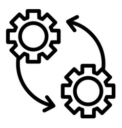 Gears and arrows icon outline style vector