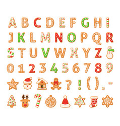 Gingerbread alphabet merry christmas and happy vector