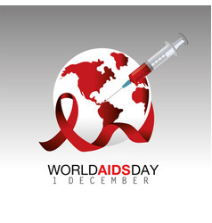 Global aids prevention with syringe and ribbon vector