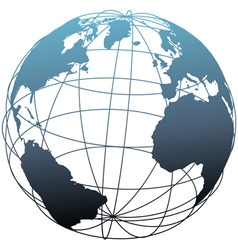 global wireframe latitude atlantic earth globe vector image