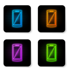 glowing neon smartphone mobile phone icon vector image