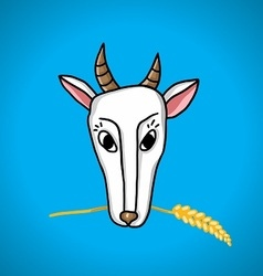 Goat with ears of wheat in the mouth vector