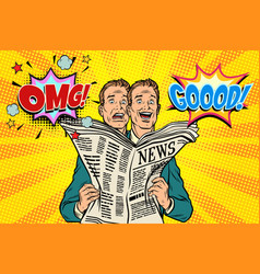 good and bad newspaper news the reaction of men vector image