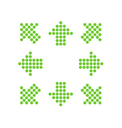 green points in the shape of arrows in 8eight vector image