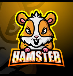 Hamster mascot esport logo design vector