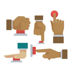 hand and finger on red button flat icons vector image