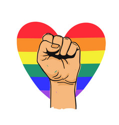 Hand fist with lgbtq rainbow heart concept of vector
