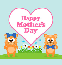 Happy mothers day background card with cat vector