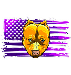 Head aggressive bully dog with american flag vector