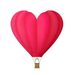 Hot air balloon in the shape of heart isolated on vector image
