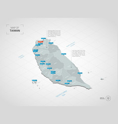 Isometric taiwan map with city names and vector