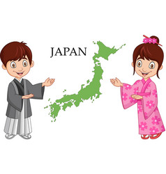 japanese couple wearing traditional costume vector image