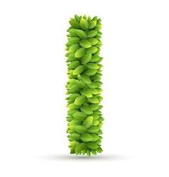 letter i alphabet green leaves vector image