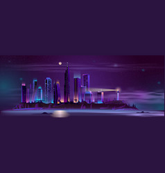 lighthouse on city bay shore cartoon vector image
