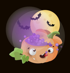 magic pumpkin halloween funny cartoon vector image