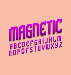 Magnetic alphabet purple gradient 3d letters vector