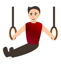 Man on gymnastics rings icon cartoon style vector
