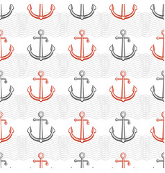 marine pattern design with anchors and abstract vector image