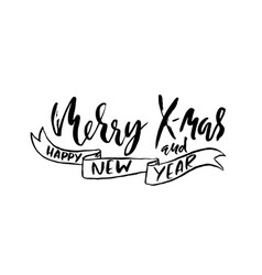 Merry x-mas and happy new year holiday modern dry vector