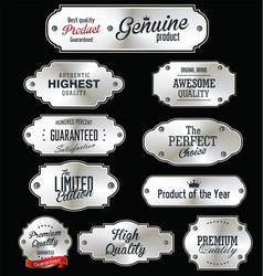 Metal plates premium quality silver collection vector