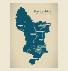Modern map - derbyshire with derby city and vector