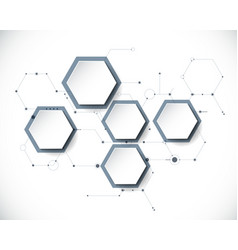 molecule with 3d paper label hexagon background vector image