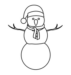 Monochrome contour of big snowman with christmas vector