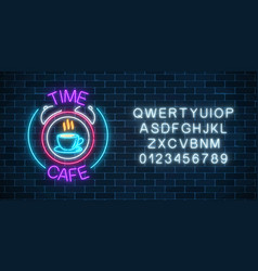neon sign of time-cafe with coffee cup in clock vector image