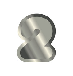 Number 4 steel metal font four silver alphabet vector