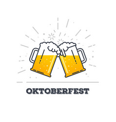 Oktoberfest glasses of beer vector