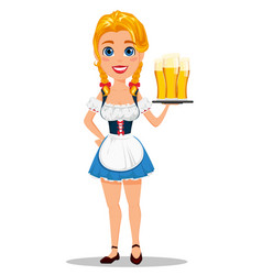 oktoberfest with sexy redhead girl holding three vector image