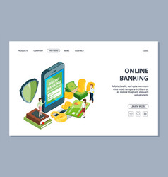 online banking web page isometric security vector image