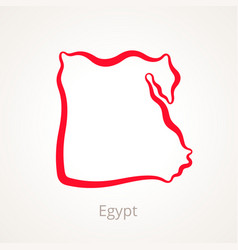 Outline map of egypt marked with red line vector