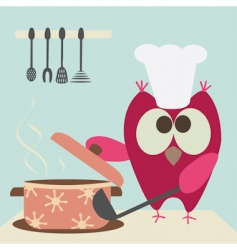 Owl and bowl vector