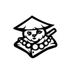 Panda mascot logo black and white version vector