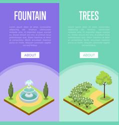 Park landscape design isometric posters vector