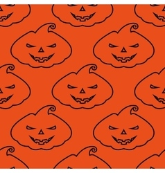 Pattern silhouette scary pumpkin face on vector