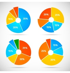 Pie Chart Icons Flat vector