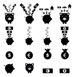 Piggy bank icon set vector