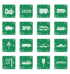 Railway icons set grunge vector