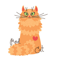 red-headed cat character a red kitten in vector image