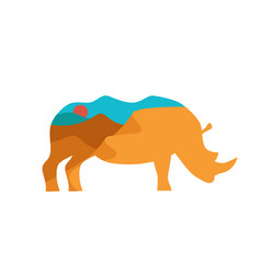 rhino with double exposure of african vector image