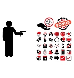 Robber With Gun Flat Icon with Bonus vector image