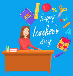 School happy teacher day woman sitting at table vector