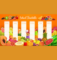 School timetable schedule with tropical fruits vector