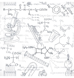 Seamless pattern of the formulas on the chemicals vector image