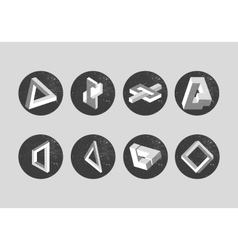 set of impossible objects Geometric shapes vector image
