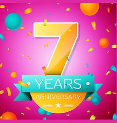 seven years anniversary celebration design banner vector image