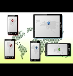Smart phones with maps vector image