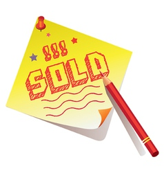 Sold memo vector image